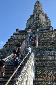 Heading up Wat Arun, Bangkok